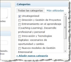 formulario de selección de categoría